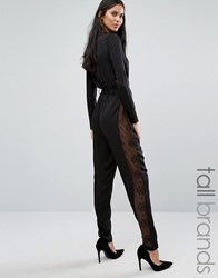 Y.A.S Tall Lacey Long Sleeve Jumpsuit With Lace Side Panels Black