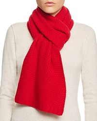 Bloomingdale's C By Waffle Knit Cashmere Scarf Cherry