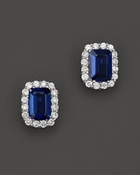 Bloomingdale's Sapphire And Diamond Halo Stud Earrings In 14K White Gold White Blue