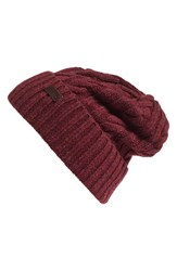 Barbour Women's Lambswool Cable Knit Hat Red Tawny Port
