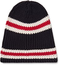Gucci Striped Ribbed Cotton Beanie Midnight Blue