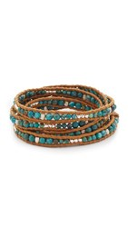 Chan Luu Beaded Wrap Bracelet Compressed Turquoise Henna