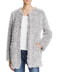 Aqua Teddy Bear Faux Fur Coat Light Grey