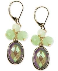 Jones New York Gold Tone Green Bead Cluster Drop Earrings Green Multi