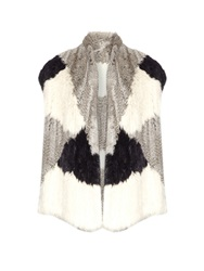 Vince Colour Block Rex Rabbit Fur Gilet
