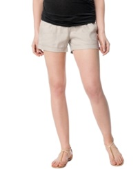 A Pea In The Pod Maternity Under Belly Cuffed Linen Shorts
