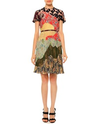 Valentino Pleated Short Sleeve Patchwork Silk Dress Garden Party