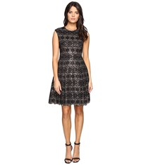 Vince Camuto Sequin Lace Cap Sleeve Fit And Flare Dress Black Women's Dress