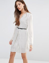 Lavand Belted Shirt Dress White