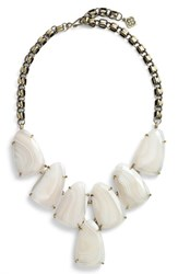 Kendra Scott Women's 'Harlow' Necklace White Banded Agate Brass