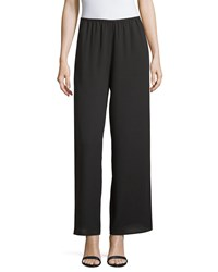 Neiman Marcus Wide Leg Crepe Pants Black