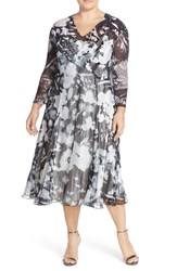 Plus Size Women's Komarov Print Chiffon A Line Midi Dress