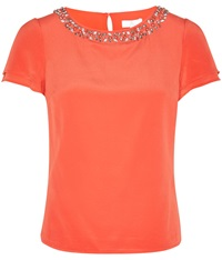 Cc Petite Embellished Blouse Coral