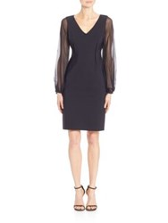 Teri Jon Sheer Sleeve Scuba Dress Black