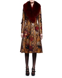 Alexander Mcqueen Fur Collar Python Embossed Leather Coat Tobacco Multi Ginger Burgundy