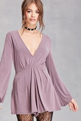 Forever 21 Deep V Neck Romper Grape