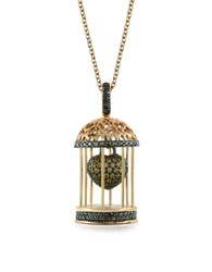 Azhar Gabbietta Silver And Zircon Cage Pendant Necklace Gold