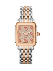 Michele Deco Diamond Pink Topaz 18K Rose Goldplated And Stainless Steel Bracelet Watch Rose Gold Silver