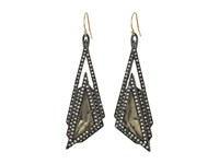Alexis Bittar Crystal Stepped Fancy Pyramid Wire Earrings Ruthenium