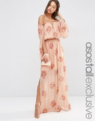 Asos Tall Off Shoulder Maxi Dress In Peach Floral Print Multi