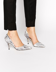 Blink Cut Out Point Heeled Shoes Grey
