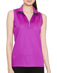 Lauren Ralph Lauren Sleeveless Mock Neck Shirt Ultra Purple