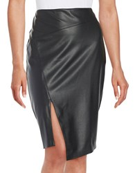 Bailey 44 Leatherette Paneled Pencil Skirt Black