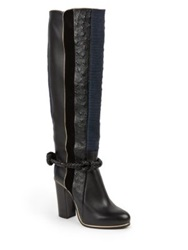 Lanvin Embossed Paneled Leather Knee High Boots Navy