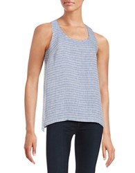 Lord And Taylor Striped Chambray Tank True Blue
