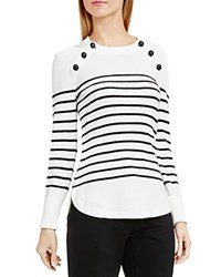 Vince Camuto Button Shoulder Stripe Sweater Antique White