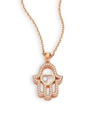 Chopard Happy Diamonds Pave Hamsa Hand Diamond And 18K Rose Gold Pendant Necklace