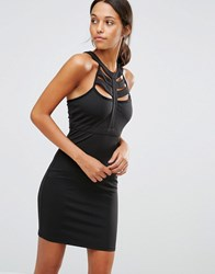 Love And Other Things Cage Detail Bodycon Dress Black