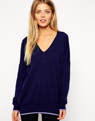 Asos Slouch V Neck Jumper With Tipping In Cashmere Blend Navy