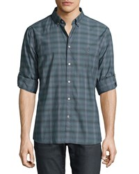 John Varvatos Star Usa Plaid Roll Tab Sleeve Shirt Dark Gray