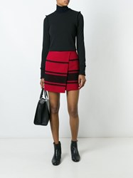 Sonia Rykiel By Striped Wrap Skirt Red