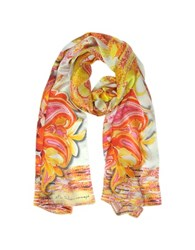 Mila Schon Flowers And Paisley Print Silk Stole Orange Yellow