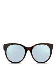 Matthew Williamson Contrast Temple Tortoiseshell Acetate Cat Eye Mirror Sunglasses Multi Colour Metallic