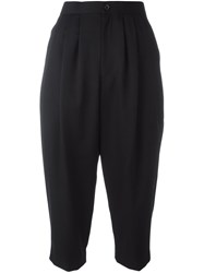 Comme Des Garcons Pleated Front Cropped Trousers Black