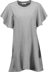 Goen J Ruffled Cotton Jersey Mini Dress Gray