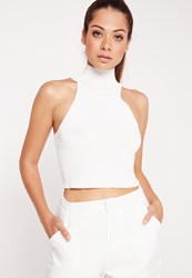 Missguided Rib High Neck Crop Ivory Ivory