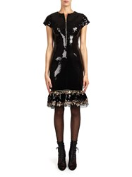 Alexis Mabille Zipped Dress In Black Sequins With Lace Flounce