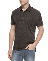 7 For All Mankind Raw Placket Short Sleeve Polo Shirt Gray
