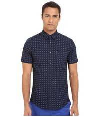 Ben Sherman Short Sleeve Double Square Print Woven Ma12400a Navy Blazer Men's Short Sleeve Button Up