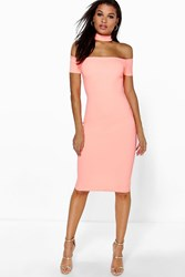 Boohoo Cap Sleeve Choker Midi Dress Orange