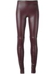 Plein Sud Jeans Leather Leggings Pink And Purple