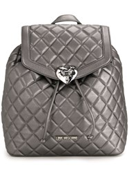 Love Moschino Quilted Backpack Metallic