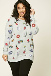 Forever 21 Plus Size Graphic Sweatshirt Heather Grey Black