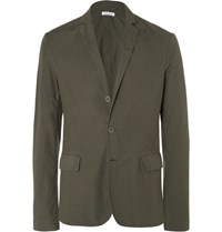Tomas Maier Toma Lim Fit Untructured Cotton Blazer Army Green