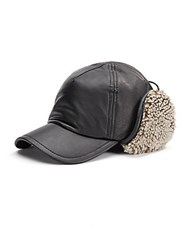 Rag And Bone Shearling Lined Leather Trapper Hat Black