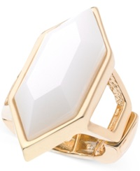 T Tahari Gold Tone White Hexagonal Stone Stretch Ring